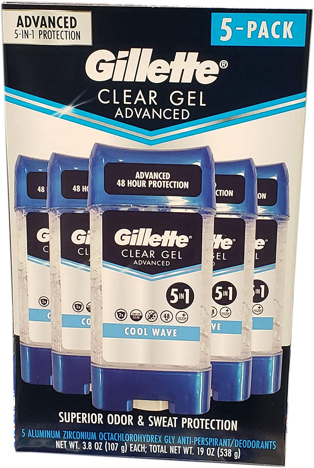 Gillette Advanced Clear Gel Antiperspirant Cool Wave 5 Pack Of 3.8 OunceNet Wt 19 Ounce