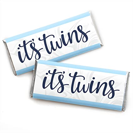 Amazon Com It S Twin Boys Candy Bar Wrapper Blue Twins Baby Shower Favors Set Of 24 Toys Games