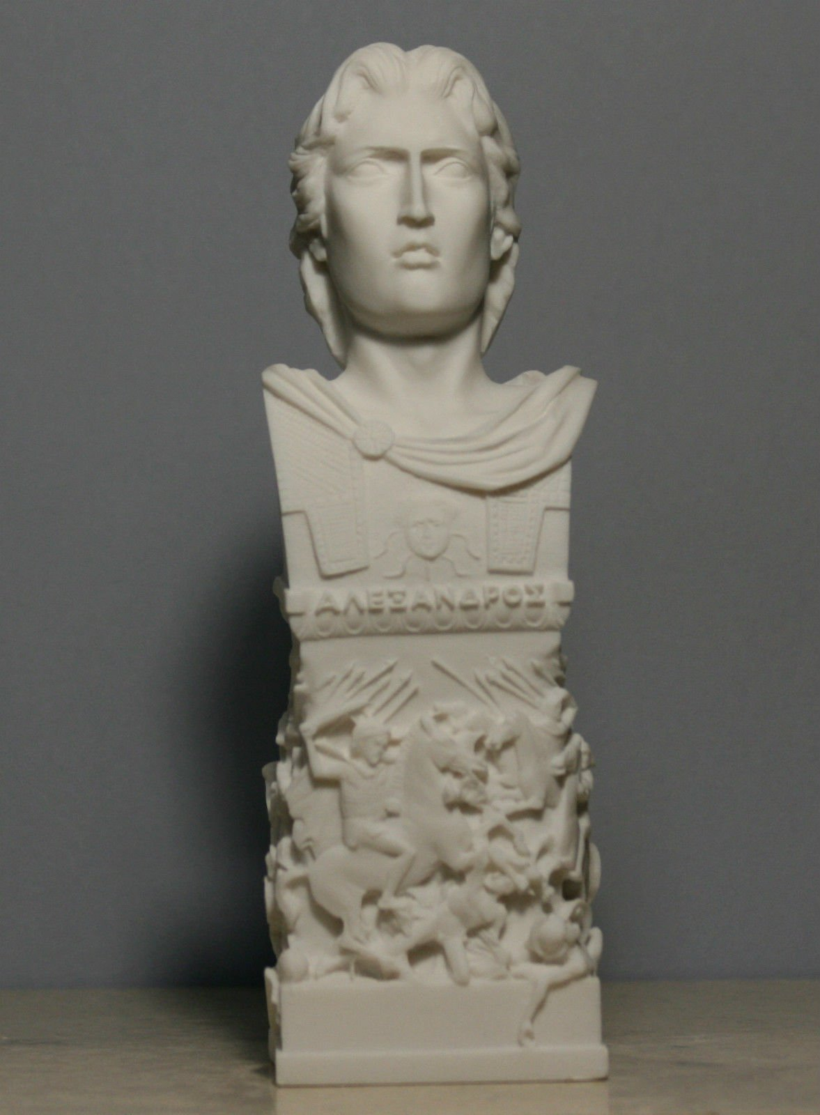 Bust of Ancient Macedonian King Alexander The Great Alabaster Statue Sculpture