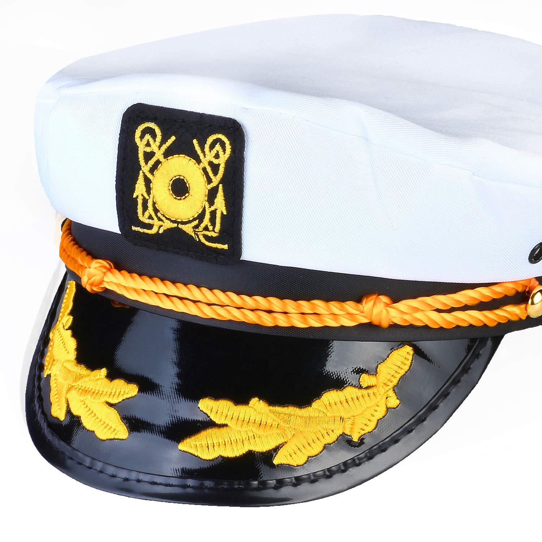 H Beelittle Yacht Capit/án Sombrero Accesorios de Disfraces Conjunto Barco Ajustable Marinero Nave Skipper Gorra Aviador Gafas de Sol Pipa de Tabaco con Accesorios de dise/ño de Ancla