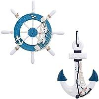 owoda 2 Pack 32CM Rueda de Barco de Madera y 33CM Ancla de Madera con Cuerda Barco Náutico Dirección Timón Decoración de…
