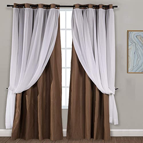 Drapifytex Extra Wide 200Wx100L inch Grommet Mix and Match Layer Drapery Sheer and Room Darkening Curtain Brown 1 Panel