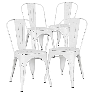 POLY & BARK EM-112-DIS-WHI-X4 Poly and Bark Trattoria Side Chair in Distressed White, Set of 4,