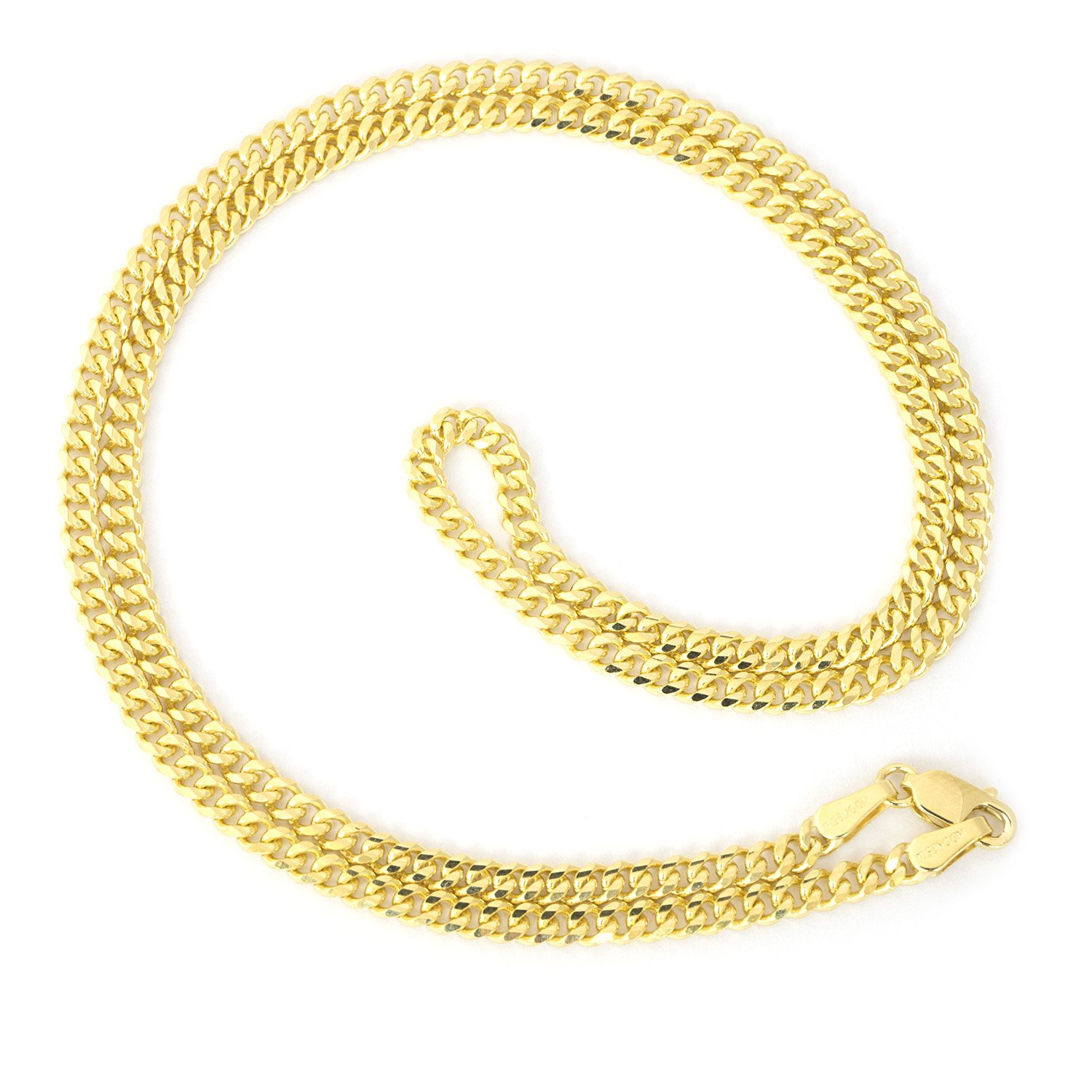 Beauniq 14k Yellow Gold 3.0mm Gourmette Curb Chain Necklace, 24''