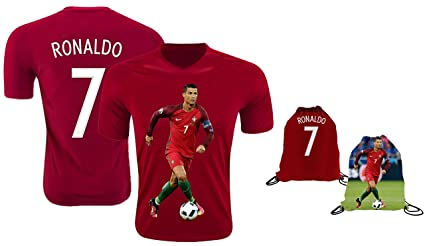 new product 35dda b6a61 Ronaldo Jersey Style T-Shirt Kids Cristiano Ronaldo Jersey Portugal T-Shirt  Gift Set Youth Sizes ✓ Premium Quality ✓ Soccer Backpack Gift Packaging