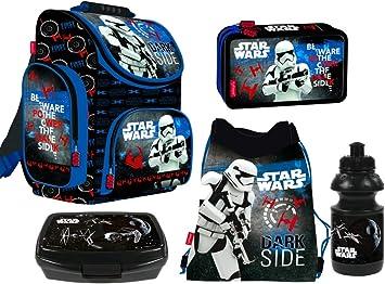 Star Wars - Juego de Mochila y Estuche, 5 Piezas, 2 Compartimentos, Bolsa de Deporte, Fiambrera, Botella para niño: Amazon.es: Equipaje