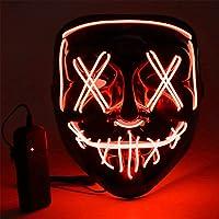 Máscara LED Halloween, Luminosa Craneo Esqueleto Mascaras, máscara de purga de Halloween con 3 modos de iluminación…