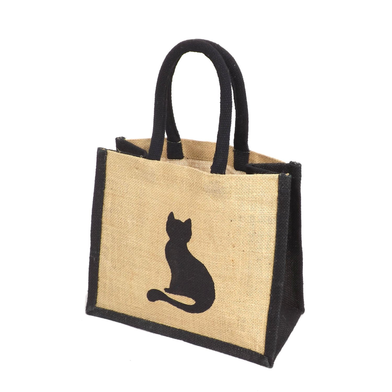 Jute Black Trim Lunch Gift Bag - Printed Cat Motif Yellowboots