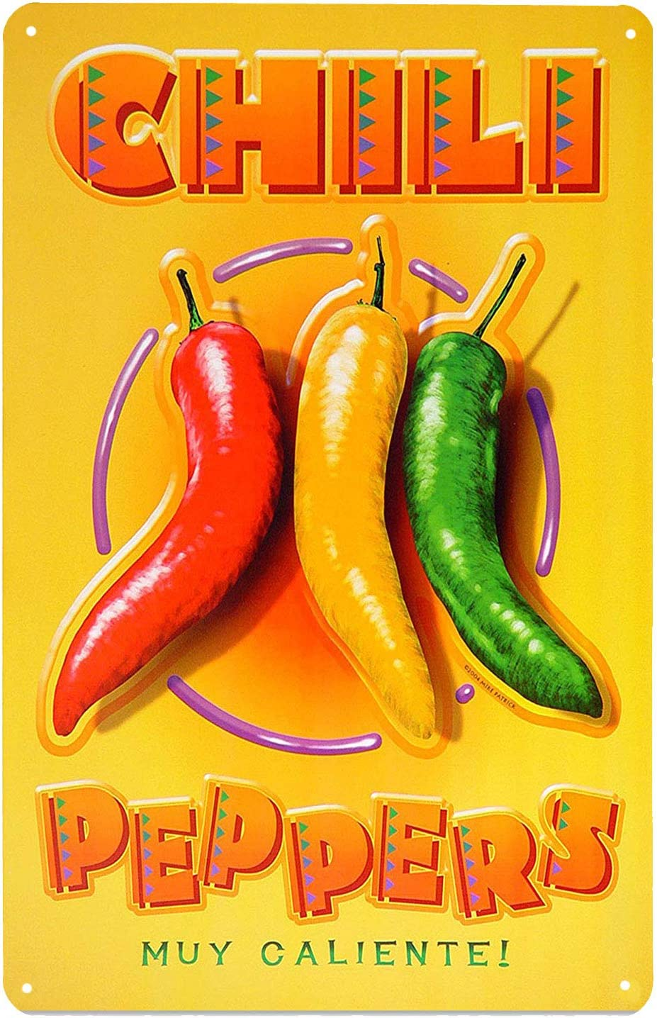 ARTCLUB Chili Peppers Spicy Food Muy Caliente, Metal Tin Sign, Art Plaque Poster Kitchen Home Wall Decor
