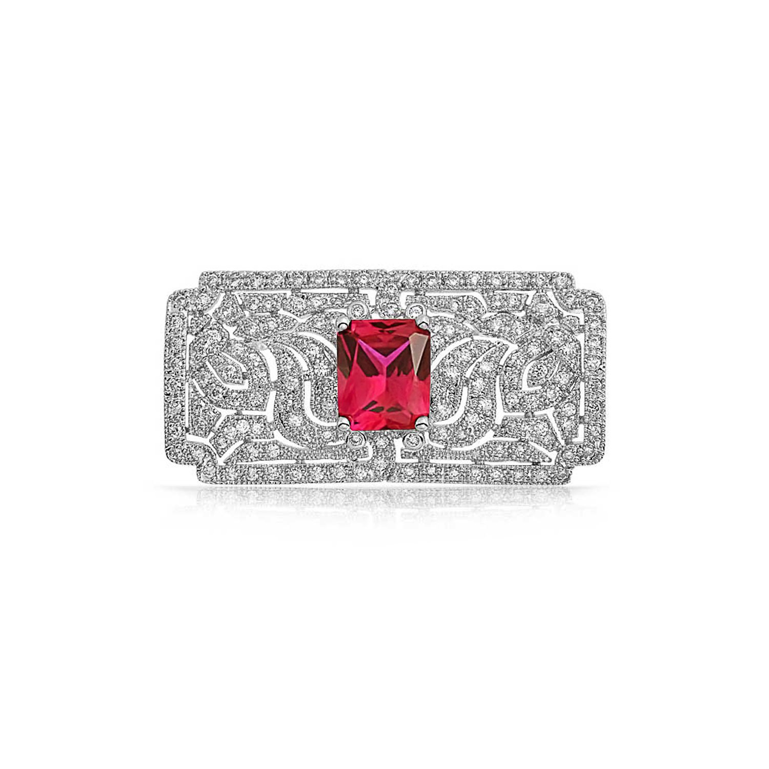 Bling Jewelry Simulated Ruby CZ Art Deco Style Brooch Pin Rhodium Plated