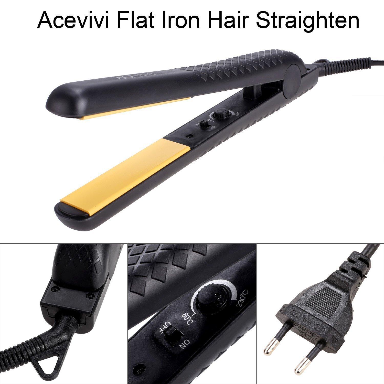 acevivi plancha de pelo eléctrico (Termostato revestimiento de cerámica alisador de pelo con enchufe UE Negro: Amazon.es: Salud y cuidado personal