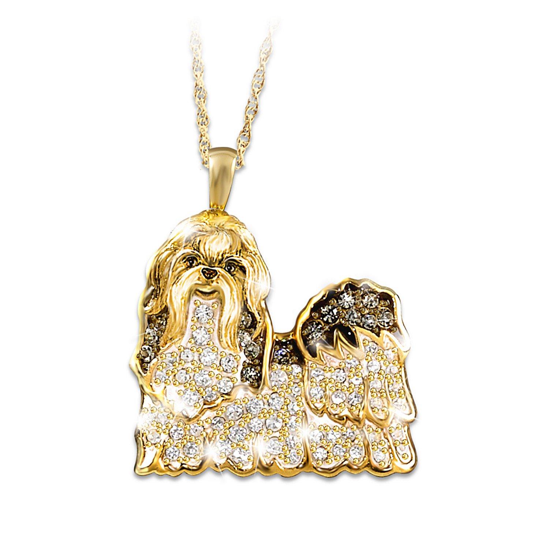 ''Best In Show'' Dog Pendant Necklace With Swarovski Crystals: Shih Tzu by The Bradford Exchange