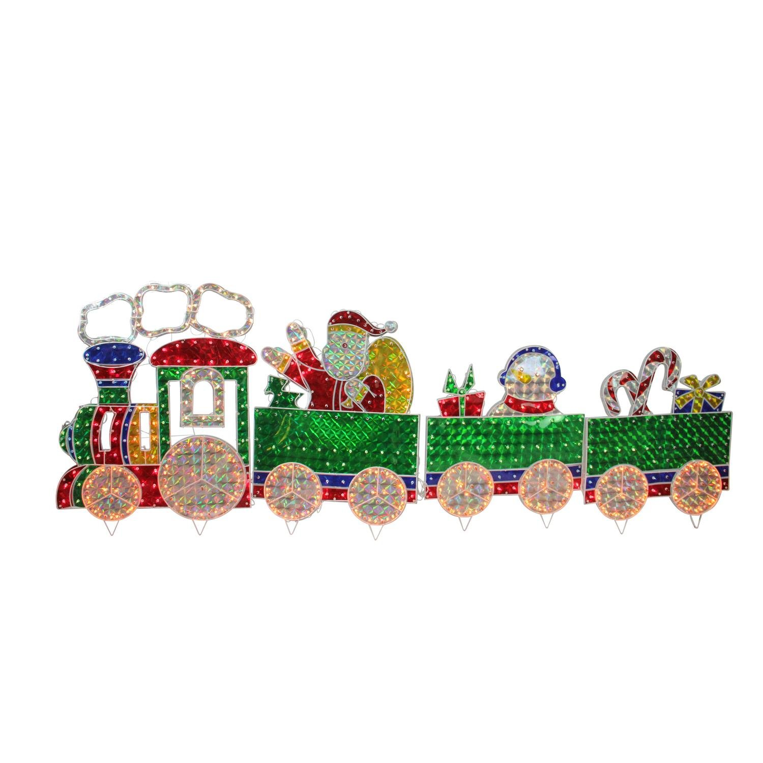 LB International 4-Piece Holographic Lighted Motion Train Set Christmas Yard Art Decoration 8.5'