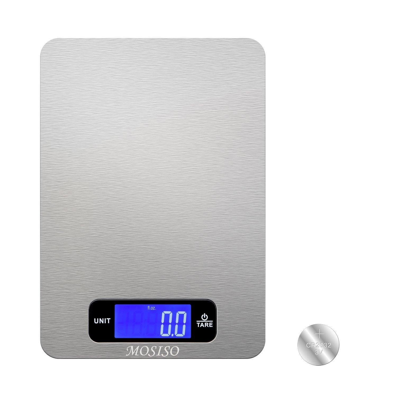 MOSISO - Balanza Digital de Cocina en el Refinado del Acero Inoxidable con Recubrimiento Resistente de la Huella Digital (11.11 Libras Edición): Amazon.es: ...