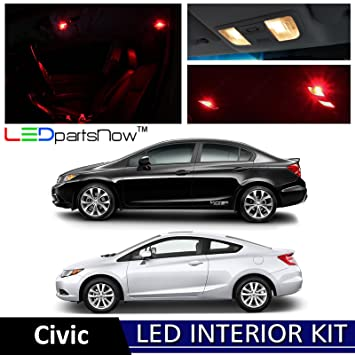 LEDpartsNow 2006 2012 Honda Civic LED Interior Lights Accessories  Replacement Package Kit (6 Pieces