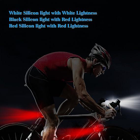 Luces Bicicleta LED, VELLAA Luz Bici Frontal y Trasera - Bike Lights LED Set Juego de 3 Luces - Luz Blanco Delantera Rojo Negro Trasero de Silicona Faro ...