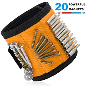Ginmic Magnetic Wristband, Tool Belt, with 20 Strong Magnets for Holding Screws, Nails, Drill, Bits, Best Unique Gift for Men, Women, DIY Handyman, Carpenters, Father/Dad, Husband, Boyfriend, Women