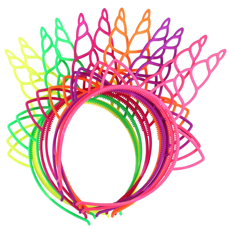 24 Pcs Self Decoration Plastic Unicorn Headbands Fantasy Party Favors Hairbands