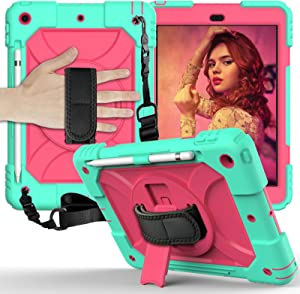iPad 8th Generation Case, iPad 7th Generation Case, iPad 10.2 Case 2019 & 2020, 360 Rotatable Kickstand w/Shoulder Strap, Built-in Pencil Holder, 3 Layer Heavy Duty Shockproof Case (Mint/Hot Pink)