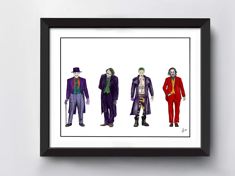 Jack Nicholson Heath Ledger Jared Leto Hand Drawn Illustration Joaquin Pheonix A4 size Joker Art Print
