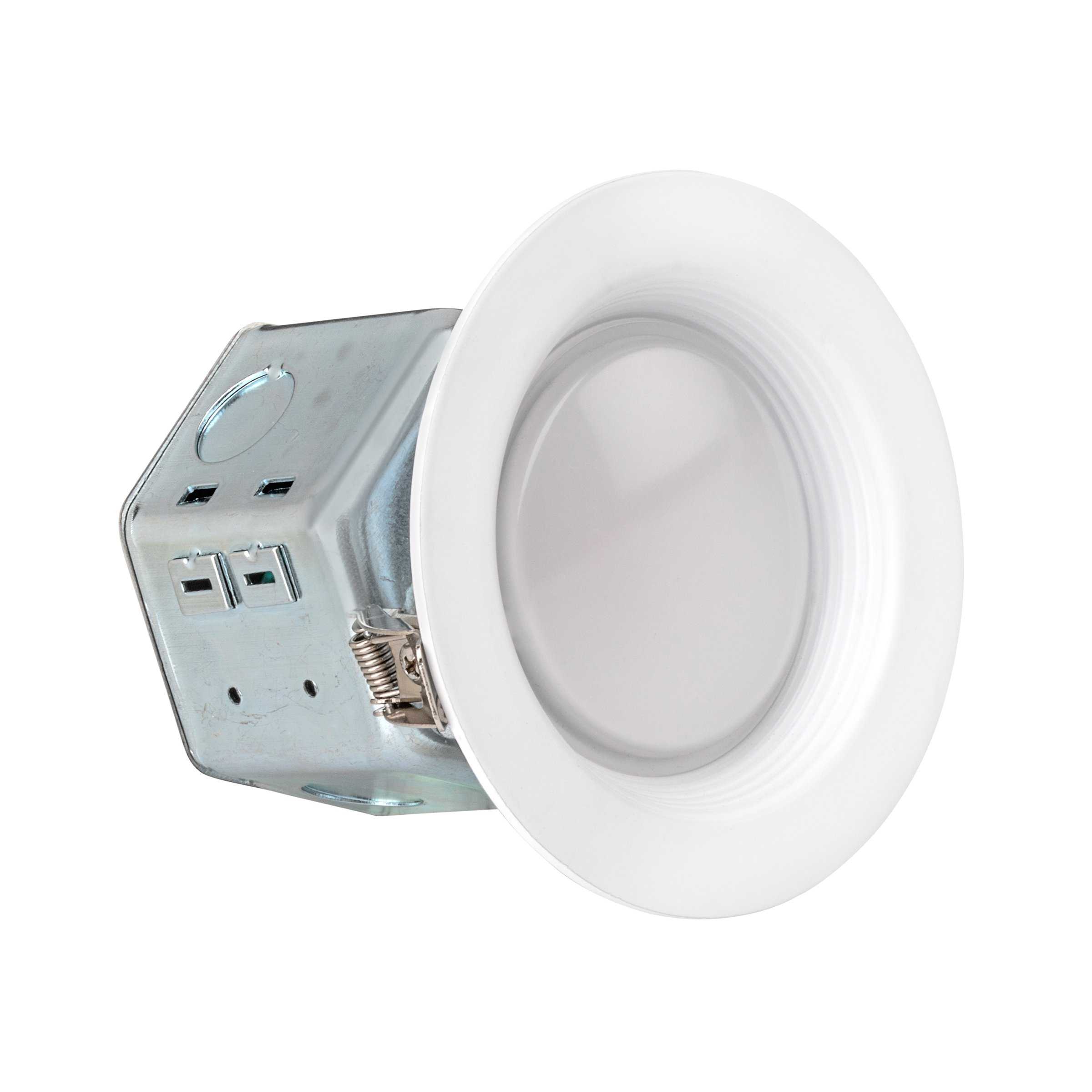 LEDQuant 4 Inch Junction Box LED Downlight, 10W (60W Equivalent), 3000K Soft White, ENERGY STAR, 700 Lumens, Wet Rated, Recessed Ceiling Light, 120V, No Can Needed, ETL Listed (3000K (Soft White))