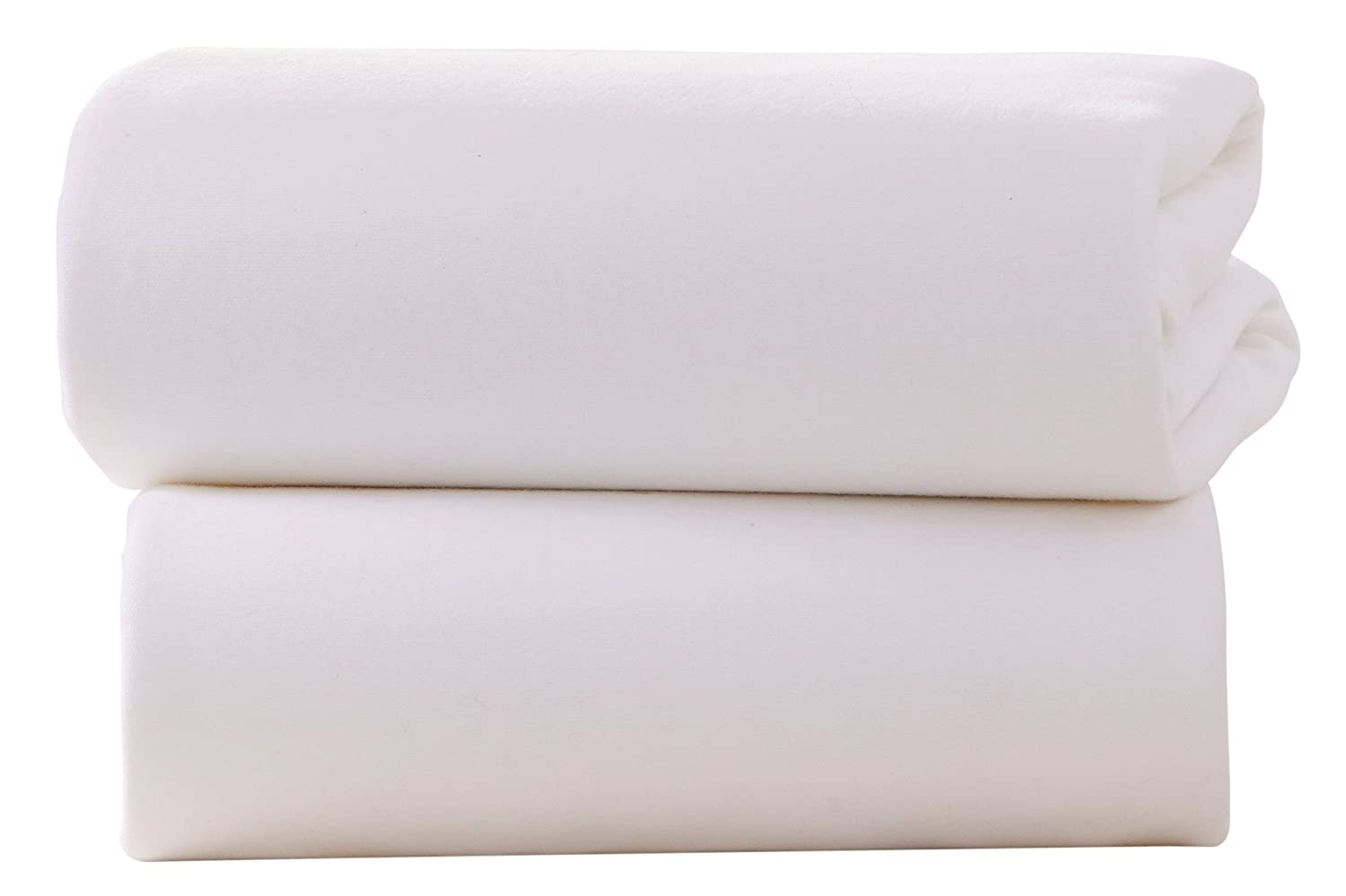 Clair de Lune Cot Bed Cotton Jersey Fitted Sheets Pack of 2, White