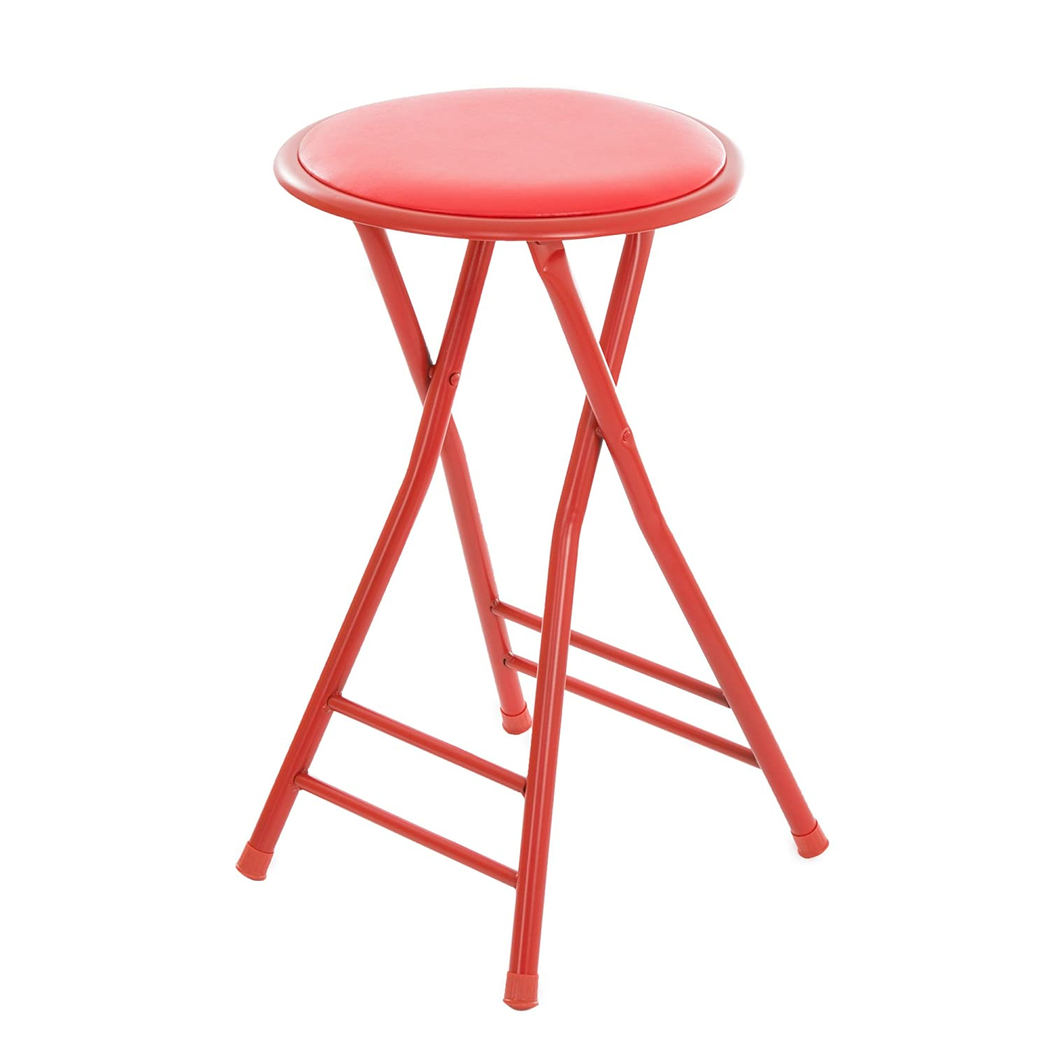 Rec or Gameroom Heavy Duty 24-Inch Collapsible Padded Round Stool with 300 Pound Limit for Dorm Trademark Home Folding Stool Red