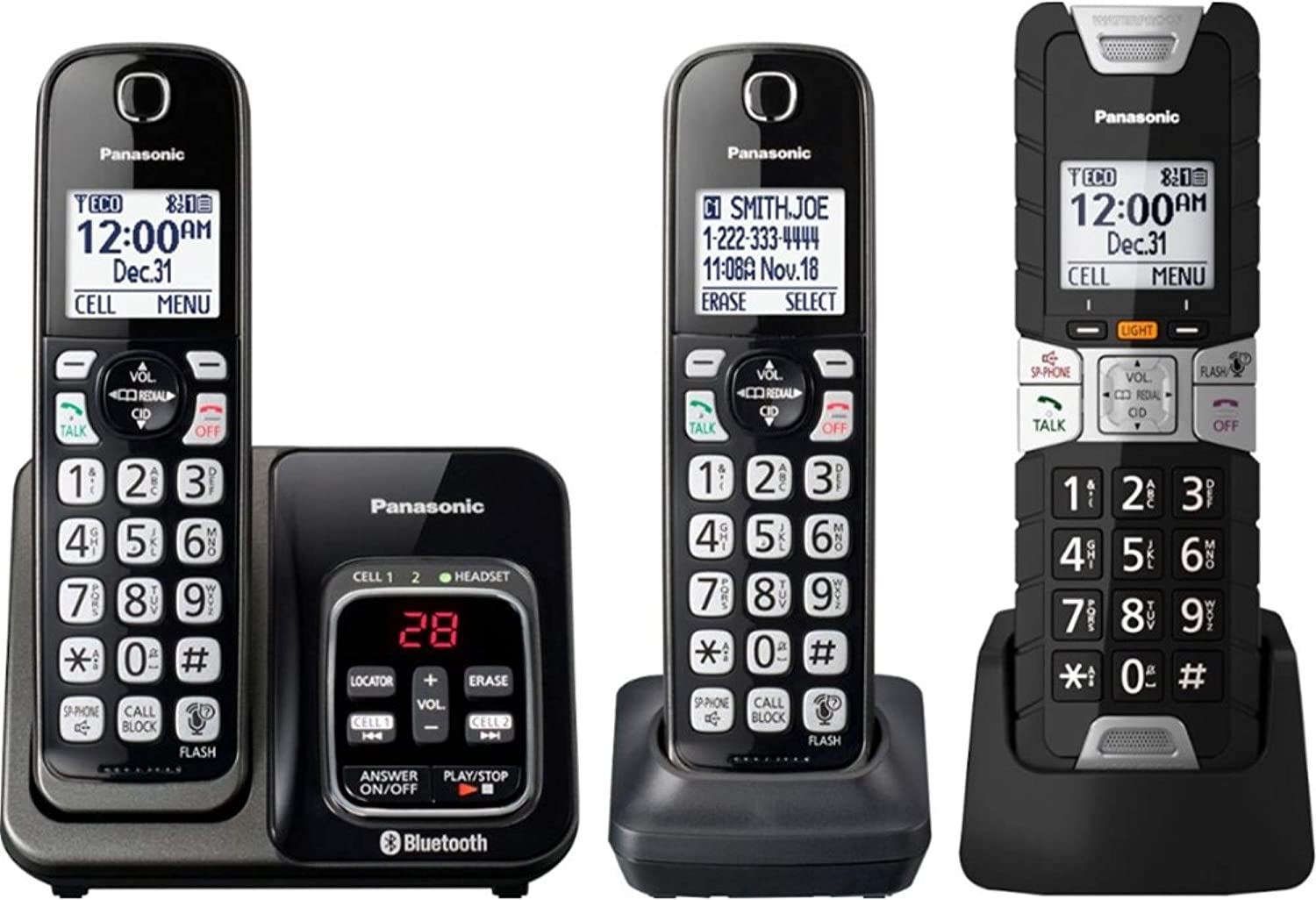 Panasonic Rugged Link2Cell Bluetooth Cordless Phone with Voice Assist, One-Touch Call Block and Answering Machine - 2 Standard Handsets + 1 Rugged Handset - KX-TGD583M (Black)