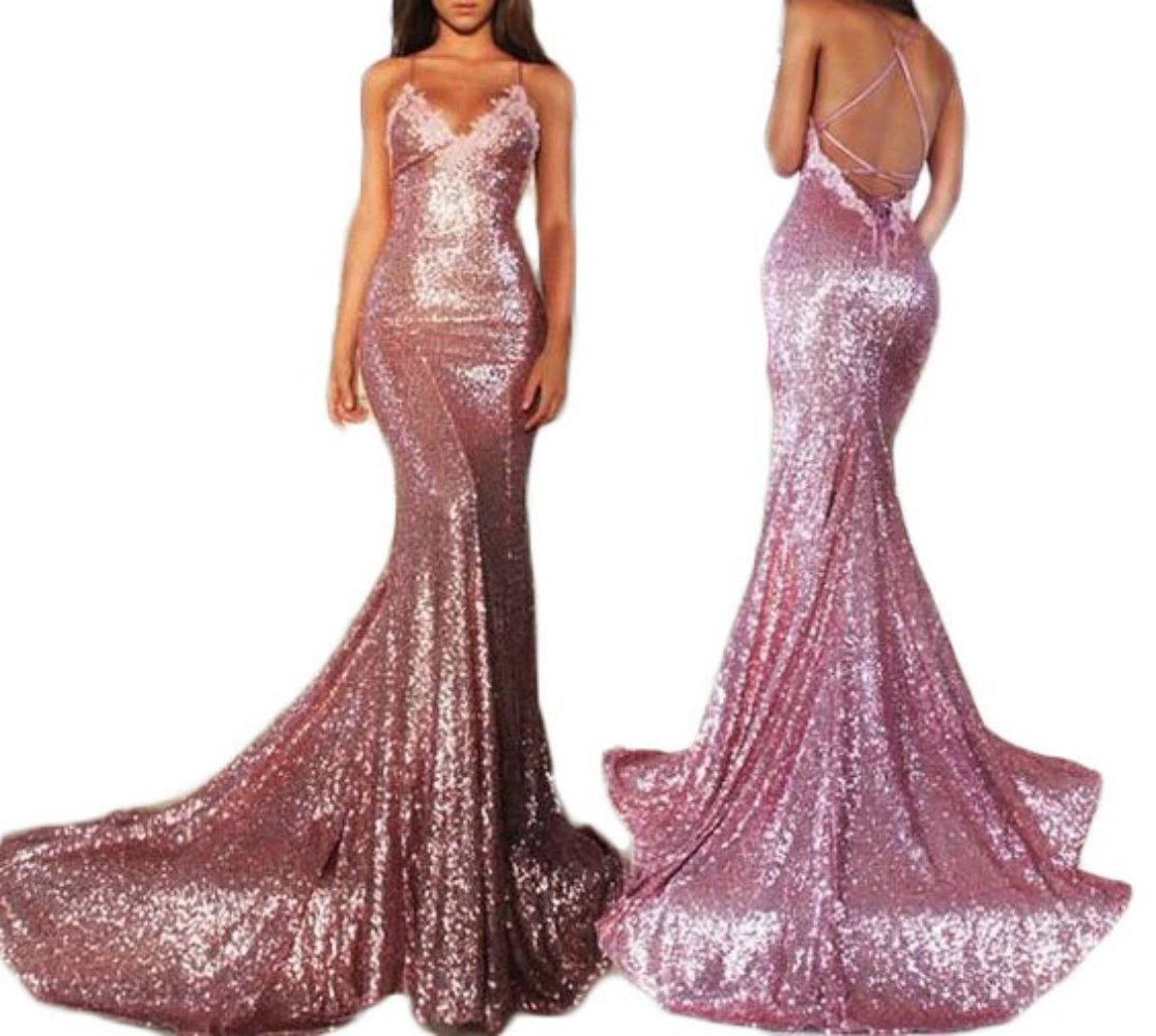 2017 Gotidy Women's Sexy Mermaid Spaghetti Straps Sequins Long Prom Party Dresses GTD339 by Gotidy