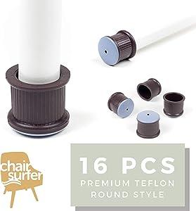 Chair Leg Caps Floor Protectors - (Round/16 Piece Set) Extra Glide Sliders | Premium Teflon for Easy Hardwood Floor Protection, No Noise, No Dust, Stronger Grip (24-25mm)