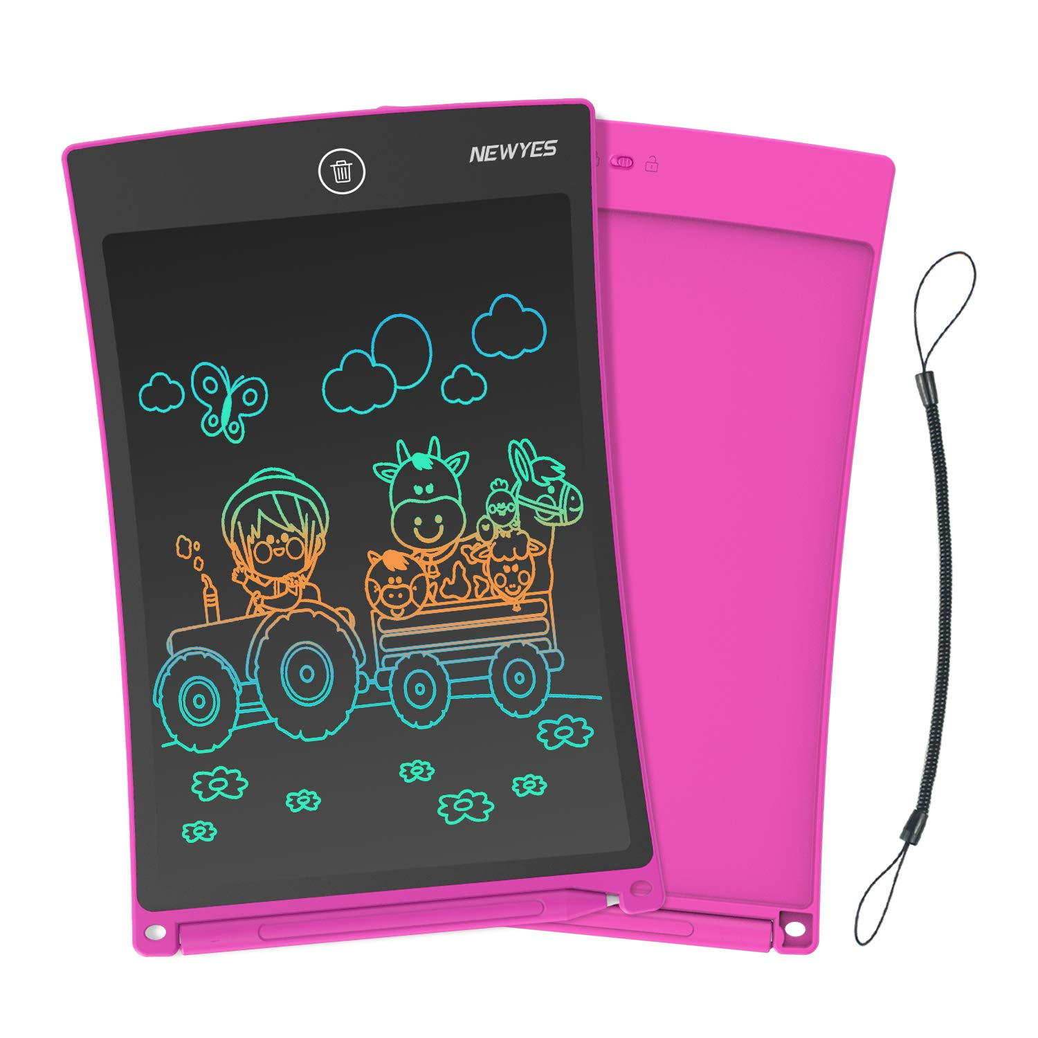 NEWYES 8.5 Inches Colorful Doodle Board LCD Screen Writing Tablet with Lock Function Magnetic Drawing Board Erasable Doodles Notepad Gifts for Ages 3+ Pink with Lanyard by NEWYES