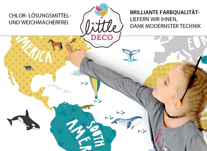 Little Deco Tatouage Mural Carte du Monde Animaux Gris Turquoise Jaune I 80 x 42 cm I Autocollant Mural Chambre Enfants Poster DL128 LxH