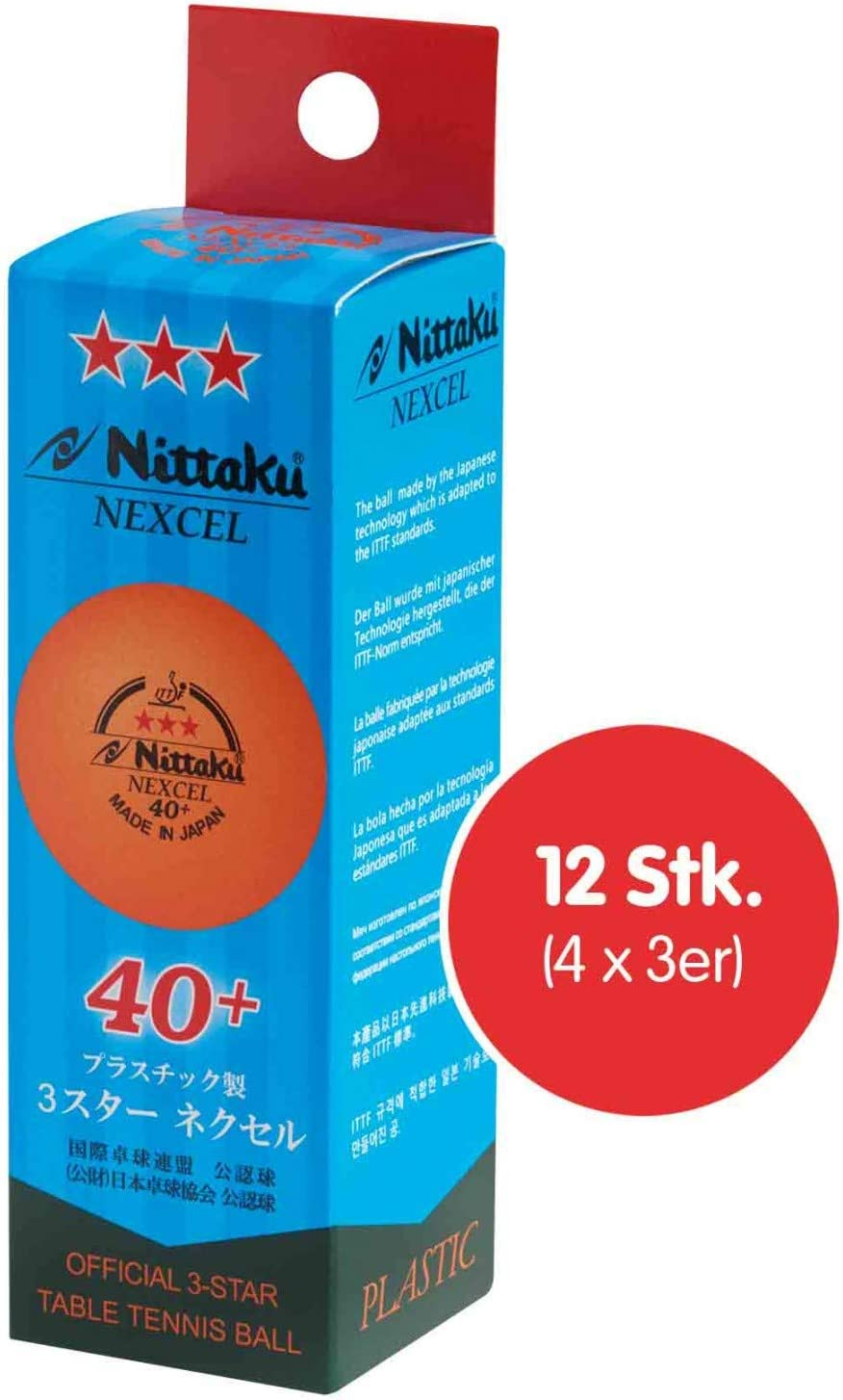 NITTAKU Nitaku Nexcel 40+ - Pelotas de Tenis (4 Paquetes de 3 Unidades)