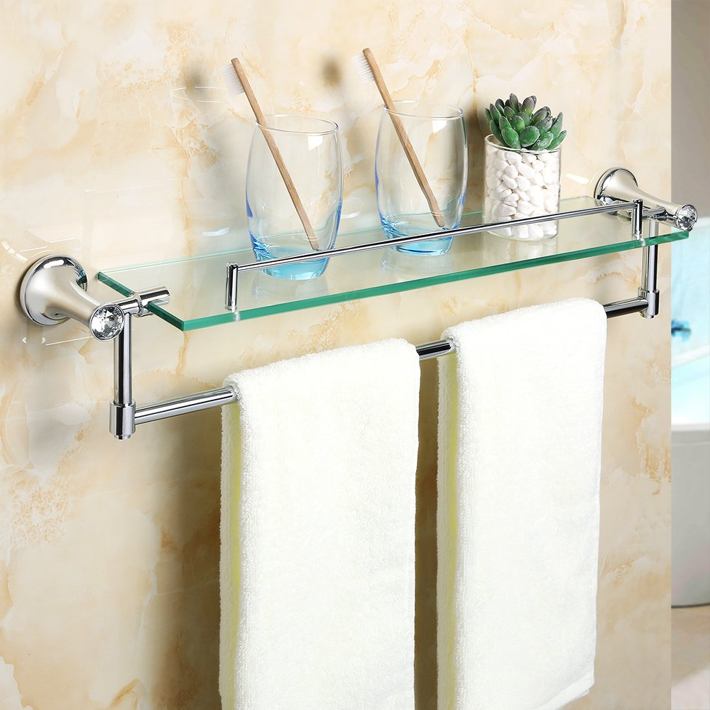 Alise Gy8000 Glass Shelf Bathroom Shelves Towel Bar Wall