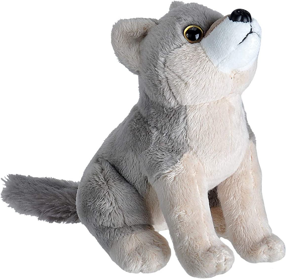 Wild Republic Wild Calls Wolf, Authentic Animal Sound, Stuffed Animal, Eight Inches, Gift for Kids, Plush Toy, Fill is Spun Recycled Water Bottles