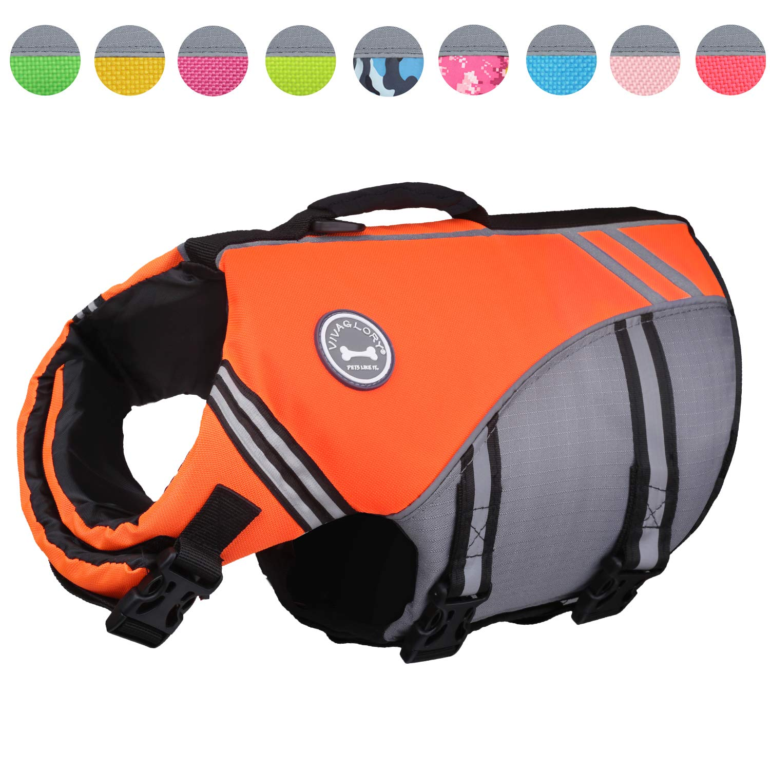 Vivaglory New Sports Style Ripstop Dog Life Jacket with Superior Buoyancy & Rescue Handle, Bright Orange, M by Vivaglory