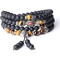 COAI Onyx Tiger Eye Gemstone Prayer Bracelet Necklace