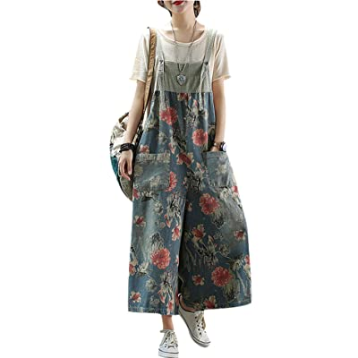 Women's Loose Baggy Cotton Wide Leg Jumpsuits Rompers Overalls Harem Pants Distressed: Clothing