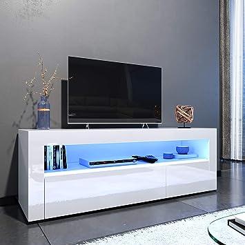 Elegante - Mueble de TV LED Blanco Brillante para salón y Dormitorio con Muebles de Almacenamiento para TV de 32 40 43 50 52 Pulgadas 4K Style D-1200x350x450mm Blanco: Amazon.es: Electrónica