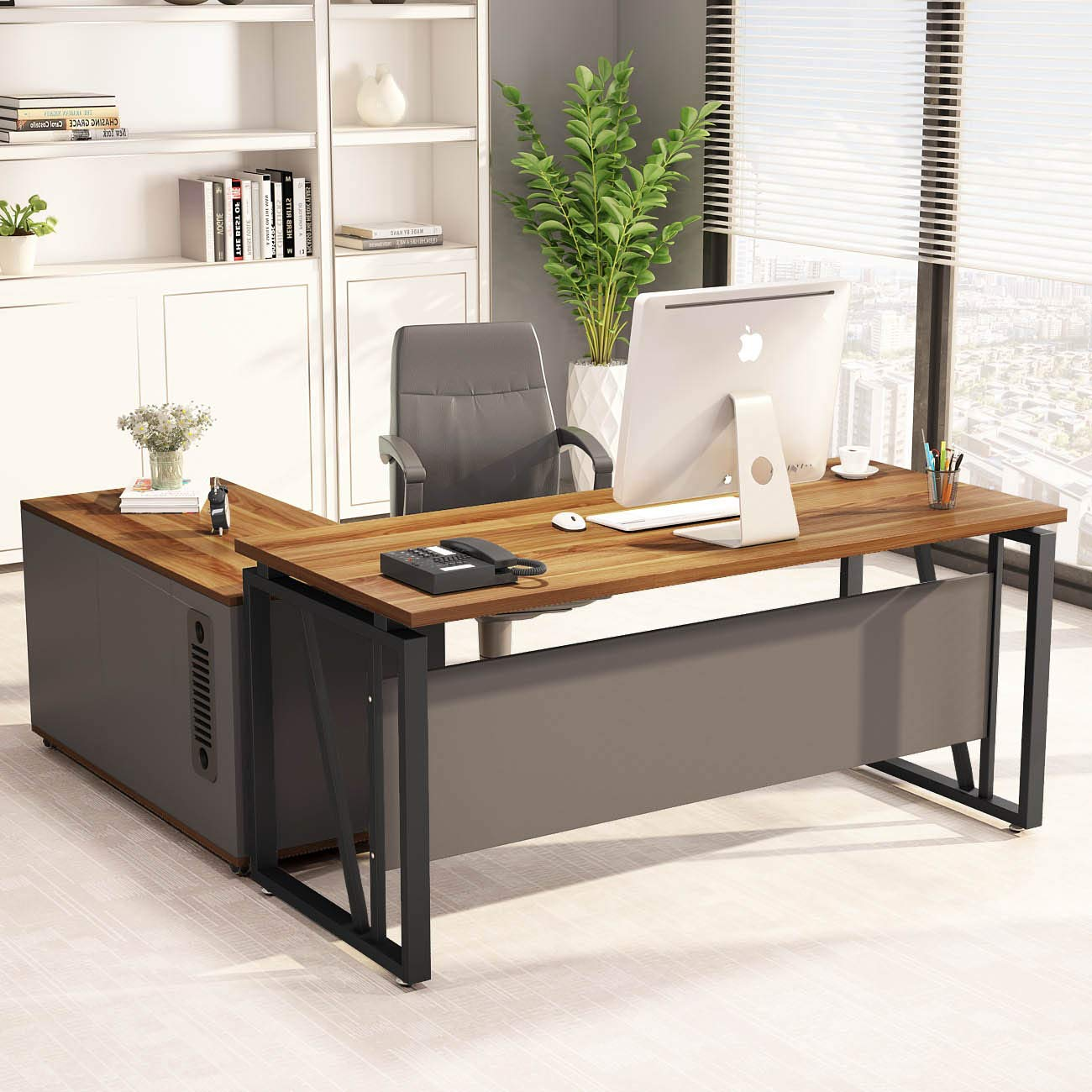 "LITTLE TREE L-Shaped Computer Desk, 55 inches Executive Desk Business Furniture with 39"" File Cabinet Storage Mobile Printer Filing Stand for Office Dark Walnut"