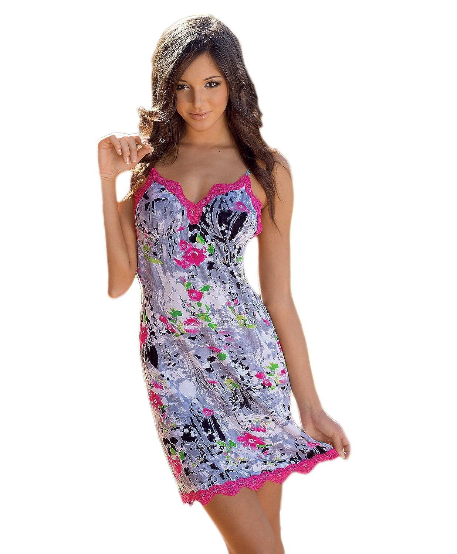 Donna Night edles und farbiges Damen-Viskose-Sommerkleid bzw. Nachtkleid im feinen Blumendesign und mit Amaranth-Spitzen