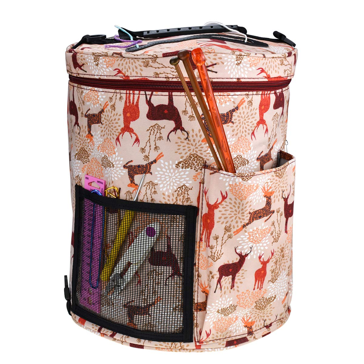 Knitting Yarn Storage Bag High Capacity,Durable,Porable,Tote Organize Pocket Crochet Hooks/Knitting Needles,Project,Supplies,Slits On Top to Project Wool and Prevent Tangle