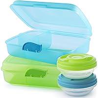 2friends GmbH Brotdosen, 2 Stück+2 Schraubdeckeldosen, mit 3 Trennfächern und Clickverschluss, ohne BPA+Weichmacher