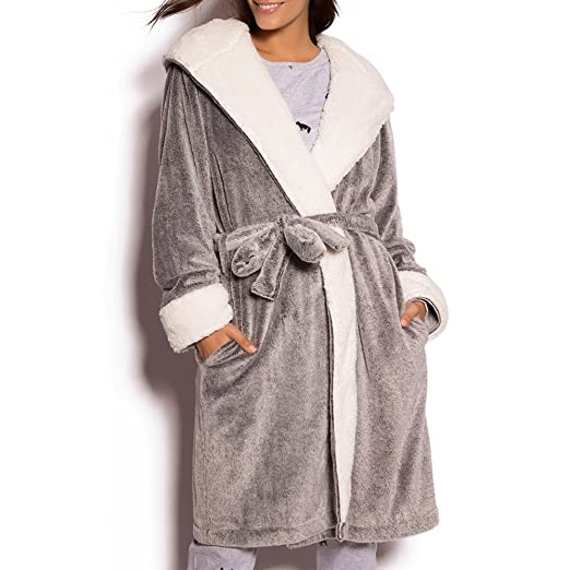 f44c55b3b5 Women s Pure Color Fleece Long Robe Winter Warm Bathrobe Loungewear  Nightgown (Grey
