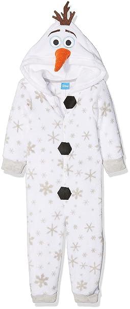 Disney Olaf Frozen Dress Up, Pijama de una Pieza para Niñas, Blanco (White