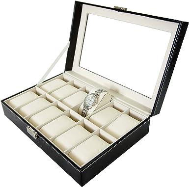 Todeco - Caja de Relojes, Caja de Almacenamiento de Relojes y Pulseras - Tamaño: 30 x 20 x 8 cm - Material de la Caja: MDF - 12 Relojes y Pantalla, Negro/Beige: Amazon.es: Ropa y accesorios