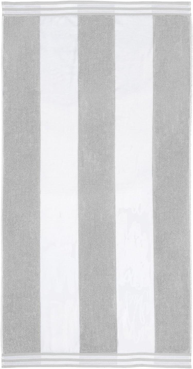 "SUPERIOR 100% Cotton Luxury Beach Towels - Oversized Beach Towel, 450 GSM Swim Towel, Light Grey Cabana Stripes (34"" x 64"")"