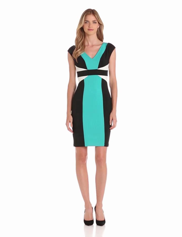 Maggy London Womens Colorblock Scuba Dress