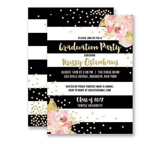 Amazon graduation party invitations black white stripe gold graduation party invitations black white stripe gold glitter look boutique invites with envelopes krissy filmwisefo