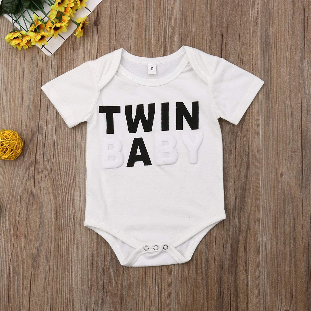Madjtlqy Newborn Twins Baby Boys Girls Short Sleeve Bodysuit Romper Summer Outfit Clothes